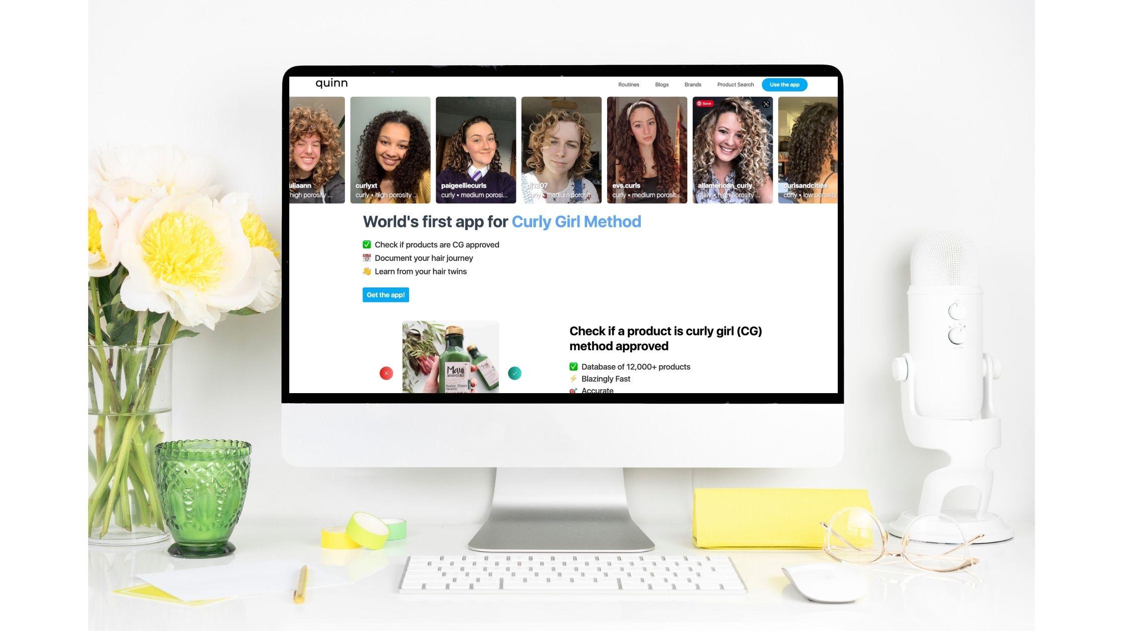 Quinn hair app website screenshot